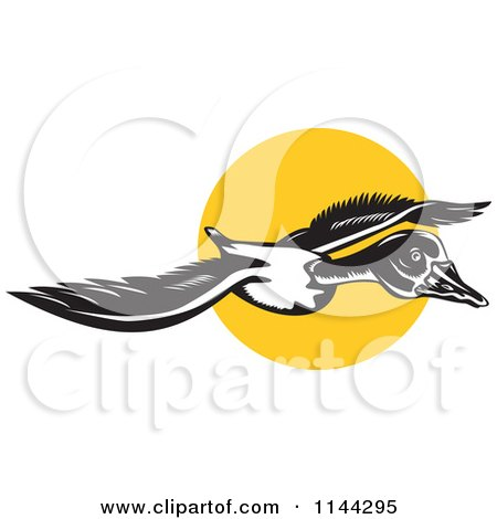 Clipart of a Retro Flying Goose and Sun - Royalty Free Vector Illustration by patrimonio