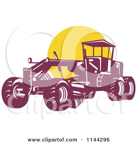 Retro Grader Machine and Yellow Circle Posters, Art Prints
