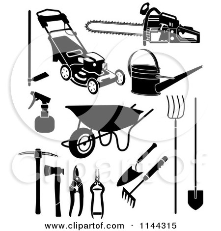 Clipart of Black and White Garden and Landscaping Tools - Royalty Free Vector Illustration by Frisko