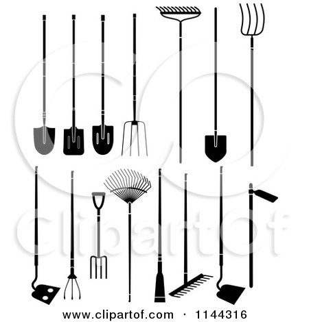 Clipart of Black and White Large Garden Tools - Royalty Free Vector Illustration by Frisko