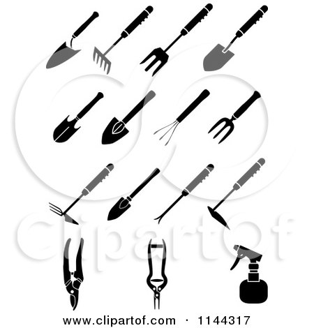 Clipart of Black and White Garden Hand Tools - Royalty Free Vector Illustration by Frisko