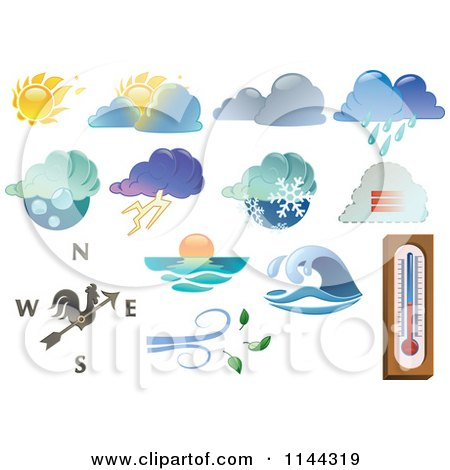 Clipart of Extreme Weather Icons - Royalty Free Vector Illustration by Frisko