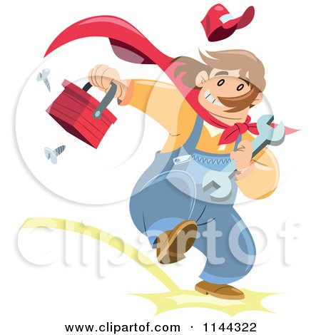 Cartoon of a Super Handyman Running with a Tool Box - Royalty Free Vector Clipart by Frisko