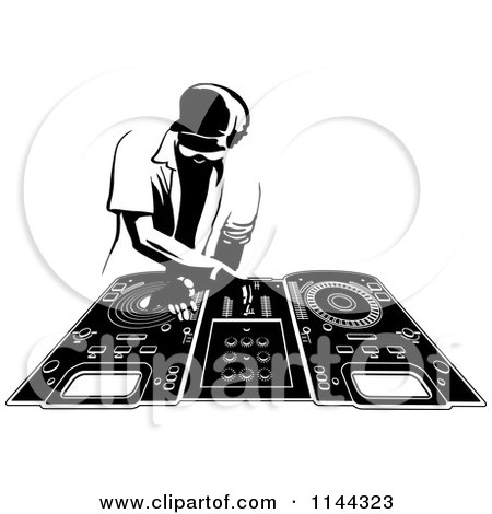 Clipart of a Black and White Disk Jocky Deejay Man Mixing Records - Royalty Free Vector Illustration by Frisko