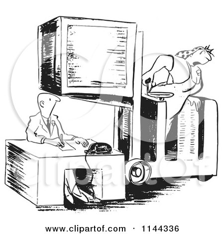 Cartoon of a Black and White Female Warehouse Worker Positioning a Crate over a Man at a Desk - Royalty Free Vector Clipart by Picsburg
