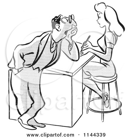 Cartoon of a Black and White Flirty Businessman Staring at a Beautiful Colleague - Royalty Free Vector Clipart by Picsburg