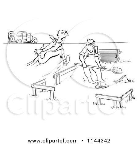 Cartoon of a Black and White Man Running Towards a Builder As He Breaks Ground on Building a House - Royalty Free Vector Clipart by Picsburg