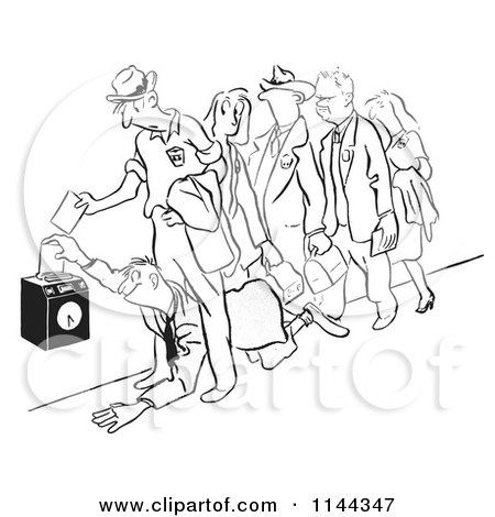 Cartoon of a Black and White Man Crawling Under His Coworkers to Get to the Time Clock First - Royalty Free Vector Clipart by Picsburg