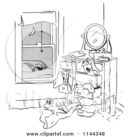 Cartoon of a Black and White Man Franticaly Searching His Dresser As His Car Pool Ride Waits - Royalty Free Vector Clipart by Picsburg
