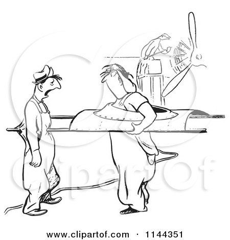 Black and White Female Airplane Factory Worker Poking a Coworker with a Part Posters, Art Prints