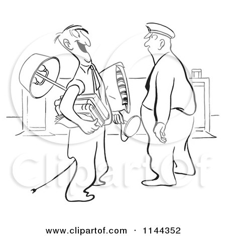 Cartoon of a Black and White Guard Staring down a Happy Man Carrying All of His Belongings - Royalty Free Vector Clipart by Picsburg