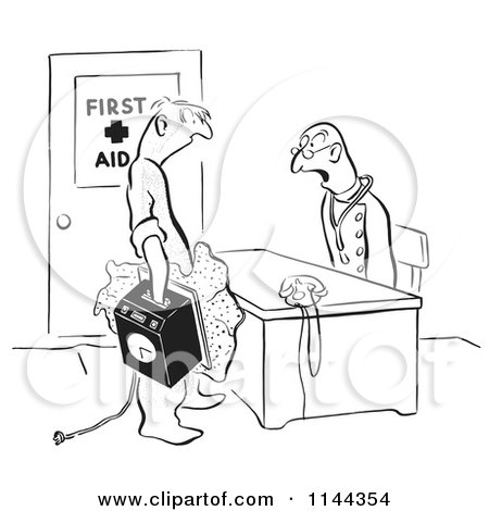 Black and White Worker Reporting to a Doctor with His Hand Stuck in a Punch Clock Posters, Art Prints