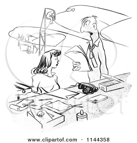 Black and White Manager Yelling at a Receptionist at an Airplane Assembly Factory Posters, Art Prints