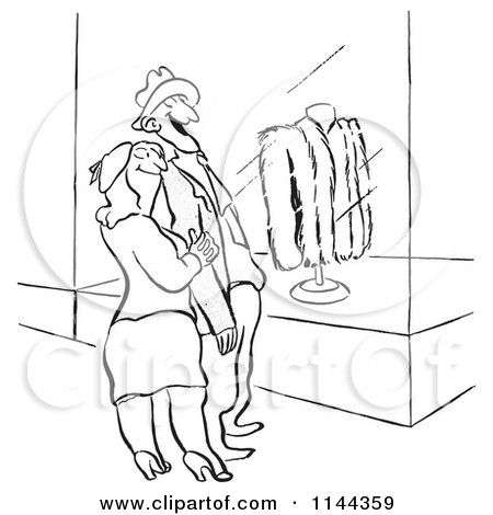 Cartoon of a Black and White Proud Husband Window Shopping for Furs with His Wife - Royalty Free Vector Clipart by Picsburg