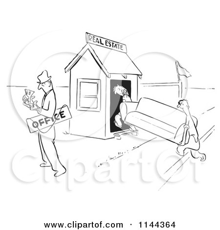 Cartoon of a Black and White Real Estate Agent Couting Cash After Selling His Office to Clients - Royalty Free Vector Clipart by Picsburg