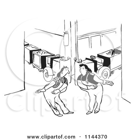 Cartoon Of Black And White Courteous Female Factory