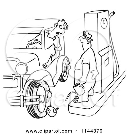 Cartoon of a Black and White Man with Flat Tires at a Gas Station - Royalty Free Vector Clipart by Picsburg