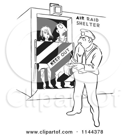 Cartoon of a Black and White Officer Issuing a Ticket for Tresspassing People in an Air Raid Shelter - Royalty Free Vector Clipart by Picsburg