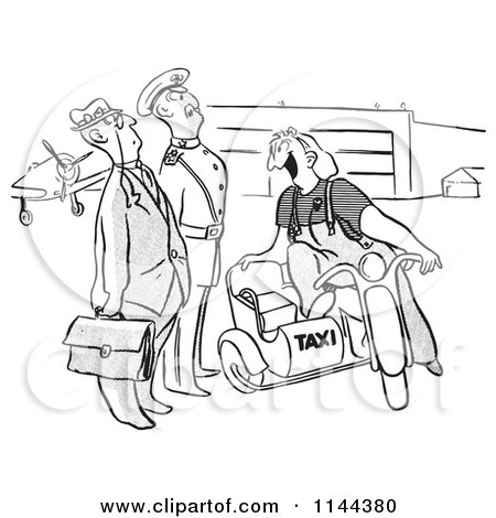 Cartoon of a Black and White Famale Airport Taxi Worker Ready to Transport Men - Royalty Free Vector Clipart by Picsburg