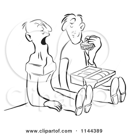 Cartoon of a Black and White Worker Man Eating a Sandwich and Noticing That His Friend Swallowed an Anvil - Royalty Free Vector Clipart by Picsburg