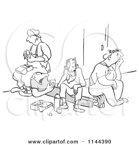 Cartoon of Black and White Unenthused Workers Eating Sandwiches and Sitting on Their Friend on Their Lunch Break - Royalty Free Vector Clipart by Picsburg