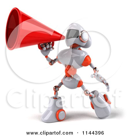 Clipart of a 3d White and Orange Male Techno Robot Announcing with a Megaphone 2 - Royalty Free CGI Illustration by Julos