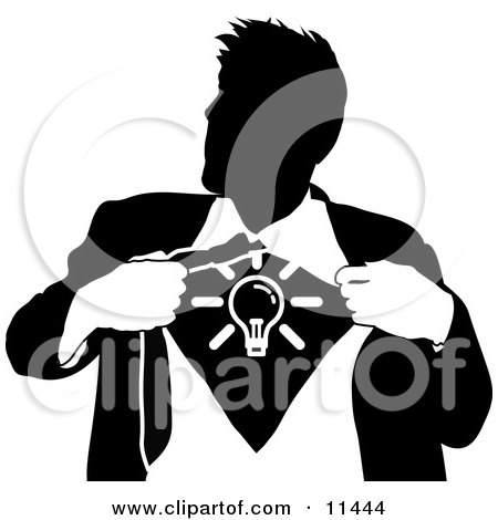 Businessman Ripping Open His Shirt to Show a Light Bulb Clipart Illustration by AtStockIllustration