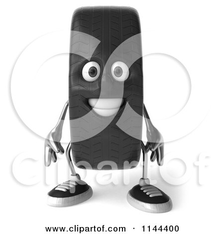 Clipart of a 3d Tire Mascot - Royalty Free CGI Illustration by Julos
