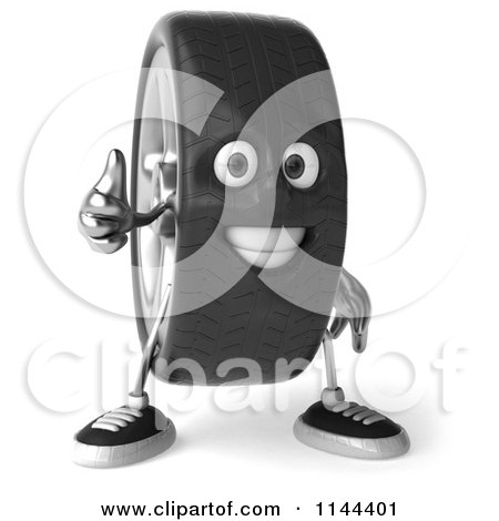 Clipart of a 3d Tire Mascot Holding a Thumb up - Royalty Free CGI Illustration by Julos