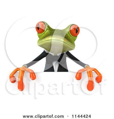 Clipart of a 3d Formal Springer Frog Holding a Sign Board 5 - Royalty Free CGI Illustration by Julos