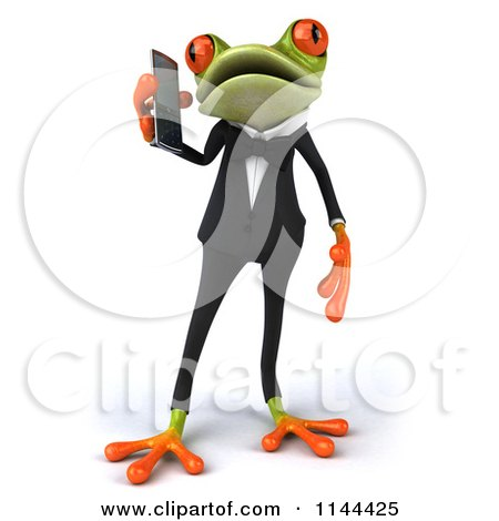 Clipart of a 3d Formal Springer Frog Talking on a Cell Phone 1 - Royalty Free CGI Illustration by Julos