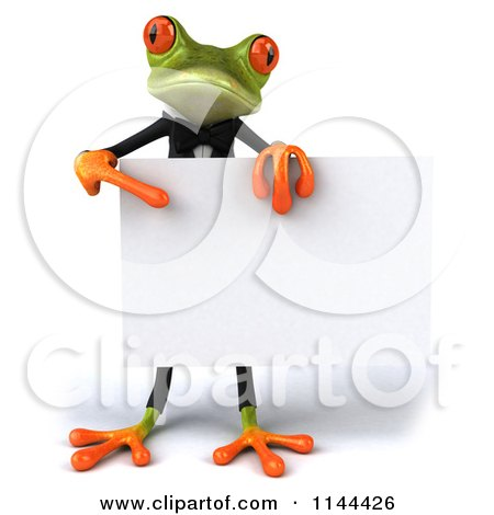 Clipart of a 3d Formal Springer Frog Holding a Sign Board 3 - Royalty Free CGI Illustration by Julos