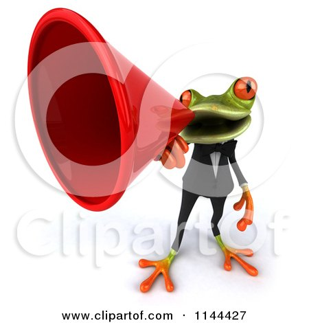 Clipart of a 3d Business Springer Frog Announcing Through a Megaphone 2 - Royalty Free CGI Illustration by Julos