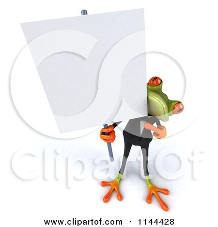 Clipart of a 3d Formal Springer Frog Holding a Sign Board 1 - Royalty Free CGI Illustration by Julos