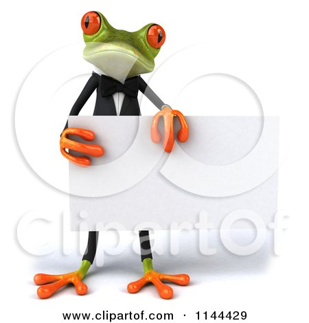 Clipart of a 3d Formal Springer Frog Holding a Sign Board 2 - Royalty Free CGI Illustration by Julos