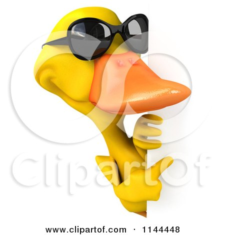 Clipart of a 3d Yellow Duck Wearing Sunglasses and Pointing at a Sign. - Royalty Free CGI Illustration by Julos
