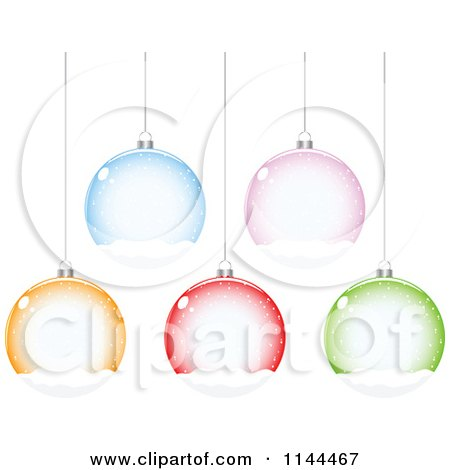 Clipart of Suspended Colorful Snow Globe Christmas Baubles - Royalty Free Vector Illustration by Andrei Marincas
