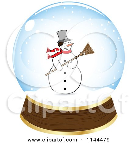Clipart of a Christmas Snowman in a Snow Globe - Royalty Free Vector Illustration by Andrei Marincas