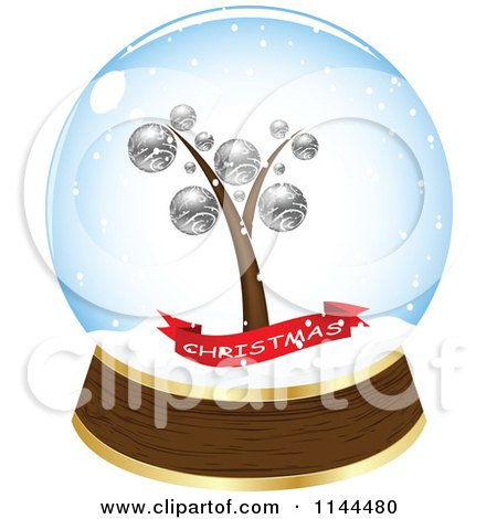 Clipart of a Christmas Tree and Banner in a Snow Globe - Royalty Free Vector Illustration by Andrei Marincas