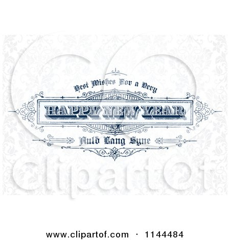 Clipart of a Retro Happy New Year Greeting over Faint Floral - Royalty Free Vector Illustration by BestVector