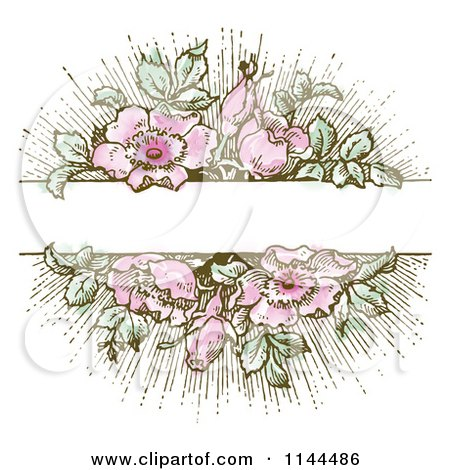 Clipart of a Vintage Pink Flower and Green Leaf Background with Copyspace 1 - Royalty Free Vector Illustration by BestVector