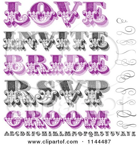 Clipart of Retro Purple and Black and White Swirls Letters and Marriage Words - Royalty Free Vector Illustration by BestVector