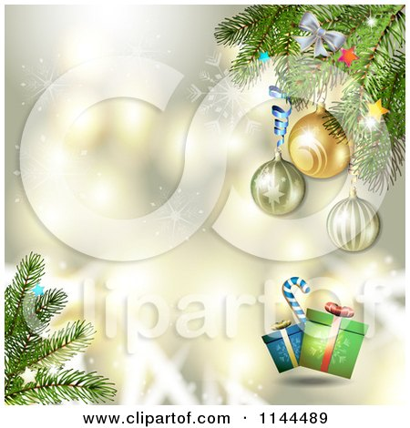 Clipart of a Gold Christmas Background with Tree Branches Baubles and Gifts - Royalty Free Vector Illustration by merlinul