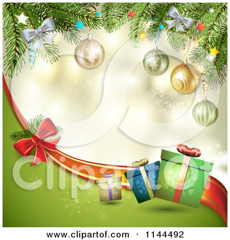 Clipart of a Christmas Background of Tree Branches Gifts and a Bow Wave - Royalty Free Vector Illustration by merlinul
