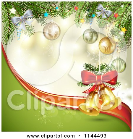 Clipart of a Christmas Background of Ornaments and Branches with Bells - Royalty Free Vector Illustration by merlinul