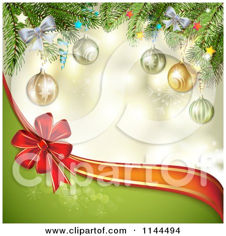 Clipart of a Christmas Background of a Branches Baubles a Bow and Wave - Royalty Free Vector Illustration by merlinul
