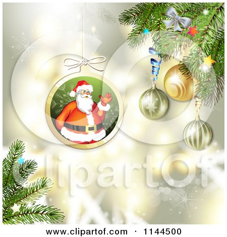 Clipart of a Santa Waving Christmas Bauble Background 3 - Royalty Free Vector Illustration by merlinul