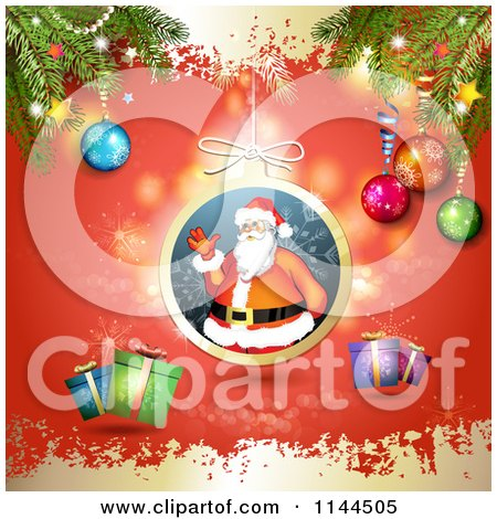 Clipart of a Santa Waving Christmas Bauble Background 7 - Royalty Free Vector Illustration by merlinul