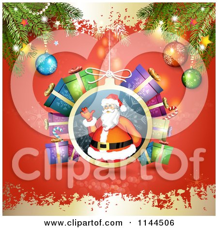 Clipart of a Santa Waving Christmas Bauble Background 4 - Royalty Free Vector Illustration by merlinul