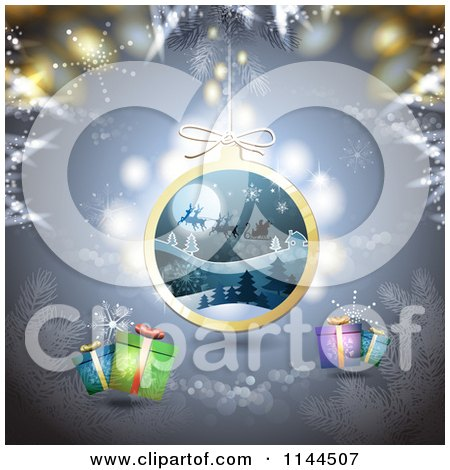 Clipart of a Christmas Background with Snowflakes Gifts and a Santa Bauble - Royalty Free Vector Illustration by merlinul